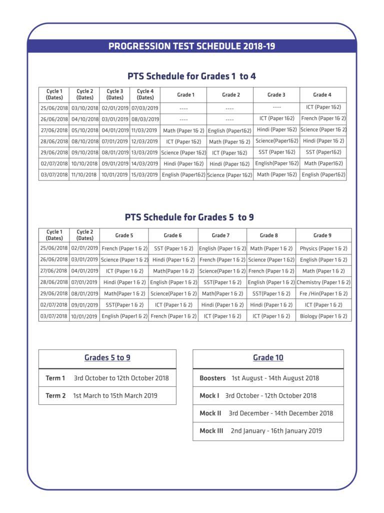 PTS Schedule